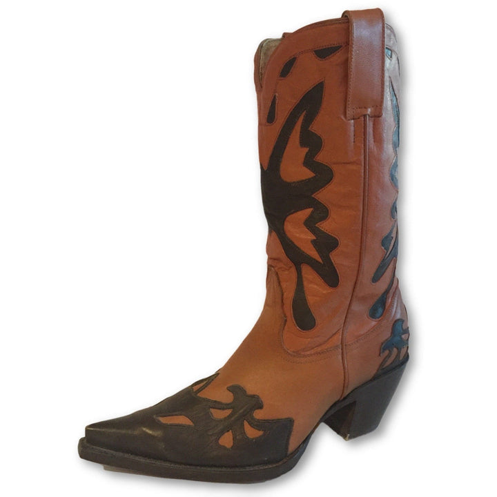 Western Cowgirl Snip Toe Brown Boots - Shoe Bank