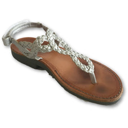 Nimrod Silver Braided Thong Sandals - Shoe Bank