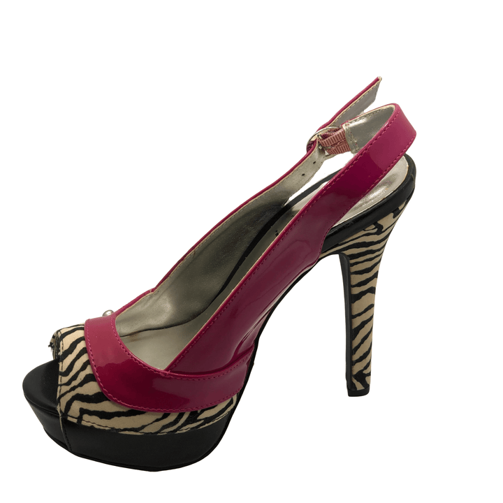 Sexy pink and zebra sling back heels