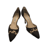 Manolo Blahnik D'orsay Animal Print Netting