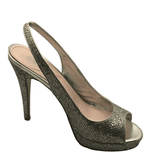 Crown Logo Silver Sparkle Open-Toe Pumps