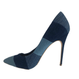 Shoe Dazzle Denim Patchwork Heels