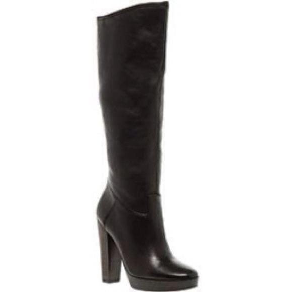 Aldo Black Leather Mid-Calf Stacked Heel Boots - Shoe Bank