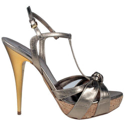 Miu Miu High Heel Cork Metallic Copper Sandals - Shoe Bank