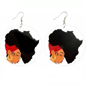 African Girl Round Earrings