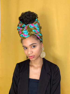 Queen Headwrap (Khaki/Pink)