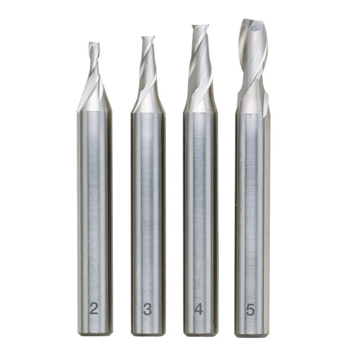 4 piece milling cutter set (2, 3, 4 and 5 mm)