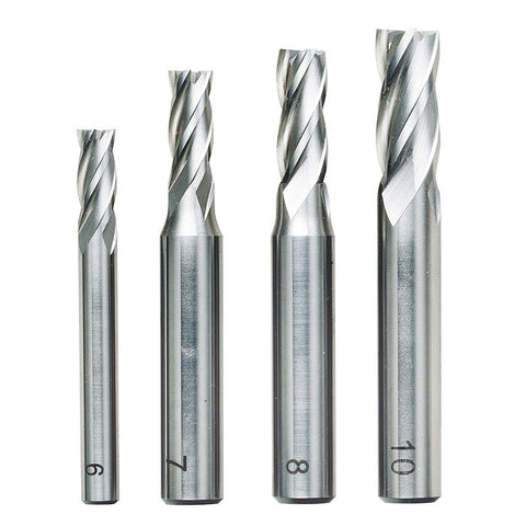 4 piece milling cutter set (6, 7, 8 and 10 mm)