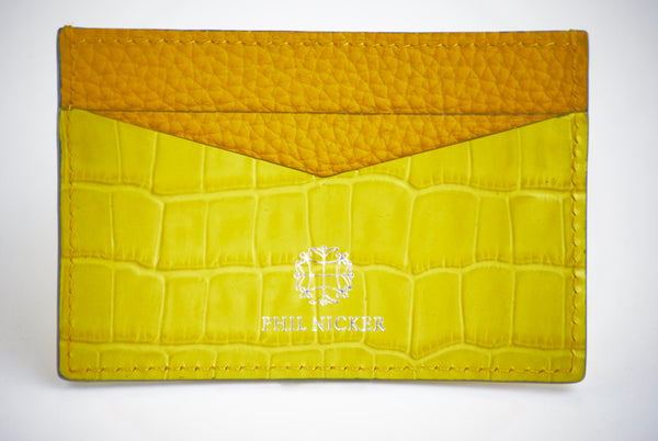 Golden yellow crocodile embossed card holder