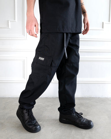 RIPSTOP AVIATION CARGO PANTS - BLACK