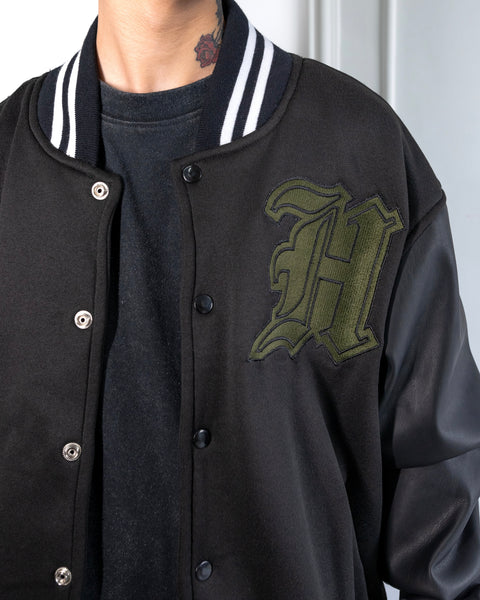 VARSITY JACKET WITH FAUX LEATHER SLEEVES - BLACK