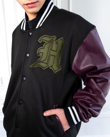 VARSITY JACKET WITH FAUX LEATHER SLEEVES - PLUM RED