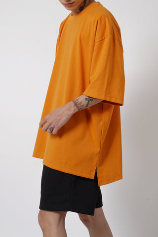 OVERSIZED SPLIT TEE - BURNT