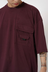 OVERSIZED POCKET TEE - WINE