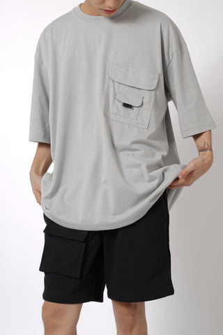 OVERSIZED POCKET TEE - LIGHT GRAY