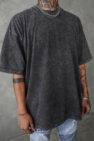 VINTAGE ACID WASH OVERSIZED TEE - BLACK