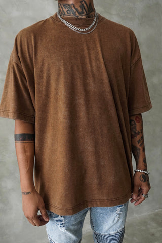 VINTAGE ACID WASH OVERSIZED TEE - BROWN