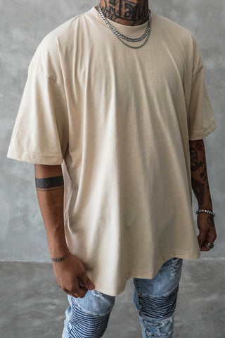 VINTAGE ACID WASH OVERSIZED TEE - CREAM