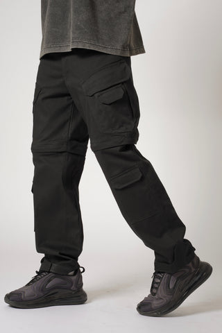 CONVERTIBLE CARGO PANTS (12 POCKETS) - BLACK
