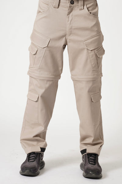 CONVERTIBLE CARGO PANTS (12 POCKETS) - STONE