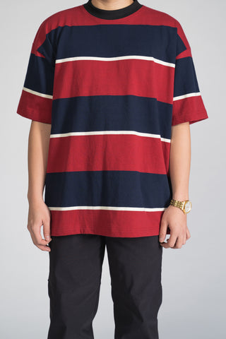 STRIPED OVERSIZED TEE - NAVY/RED