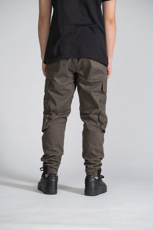 8 POCKETS CARGO PANTS ANKLE STRAP - DARK GRAY