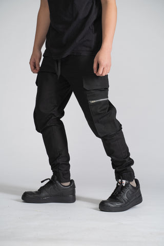 8 POCKETS CARGO PANTS ANKLE STRAP - BLACK
