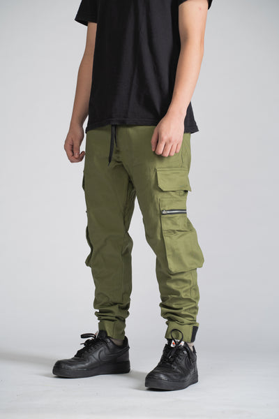 8 POCKETS CARGO PANTS ANKLE STRAP - OLIVE GREEN