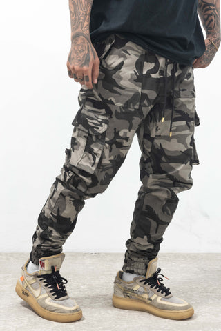 6 POCKETS CAMOU CARGO PANTS - GRAY