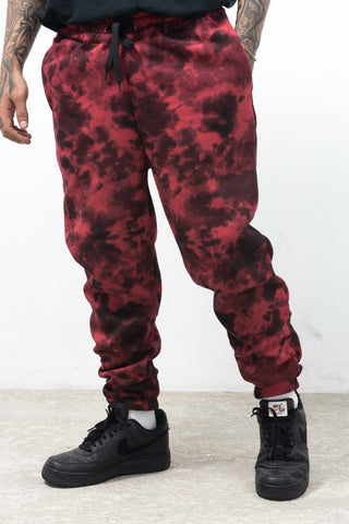 ACID WASH SWEATPANTS - RED
