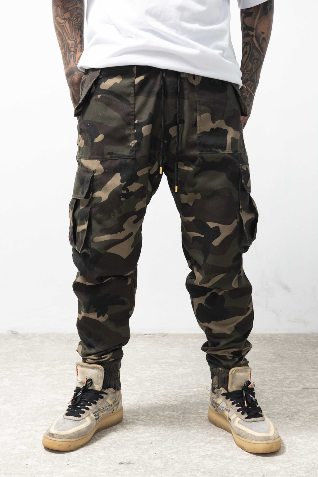 6 POCKETS CAMOU CARGO PANTS - GREEN