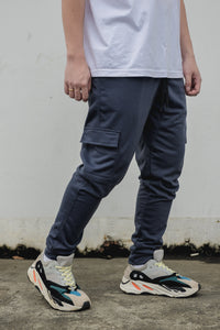 NEW FRENCH TERRY CARGO PANTS - DARK GRAY