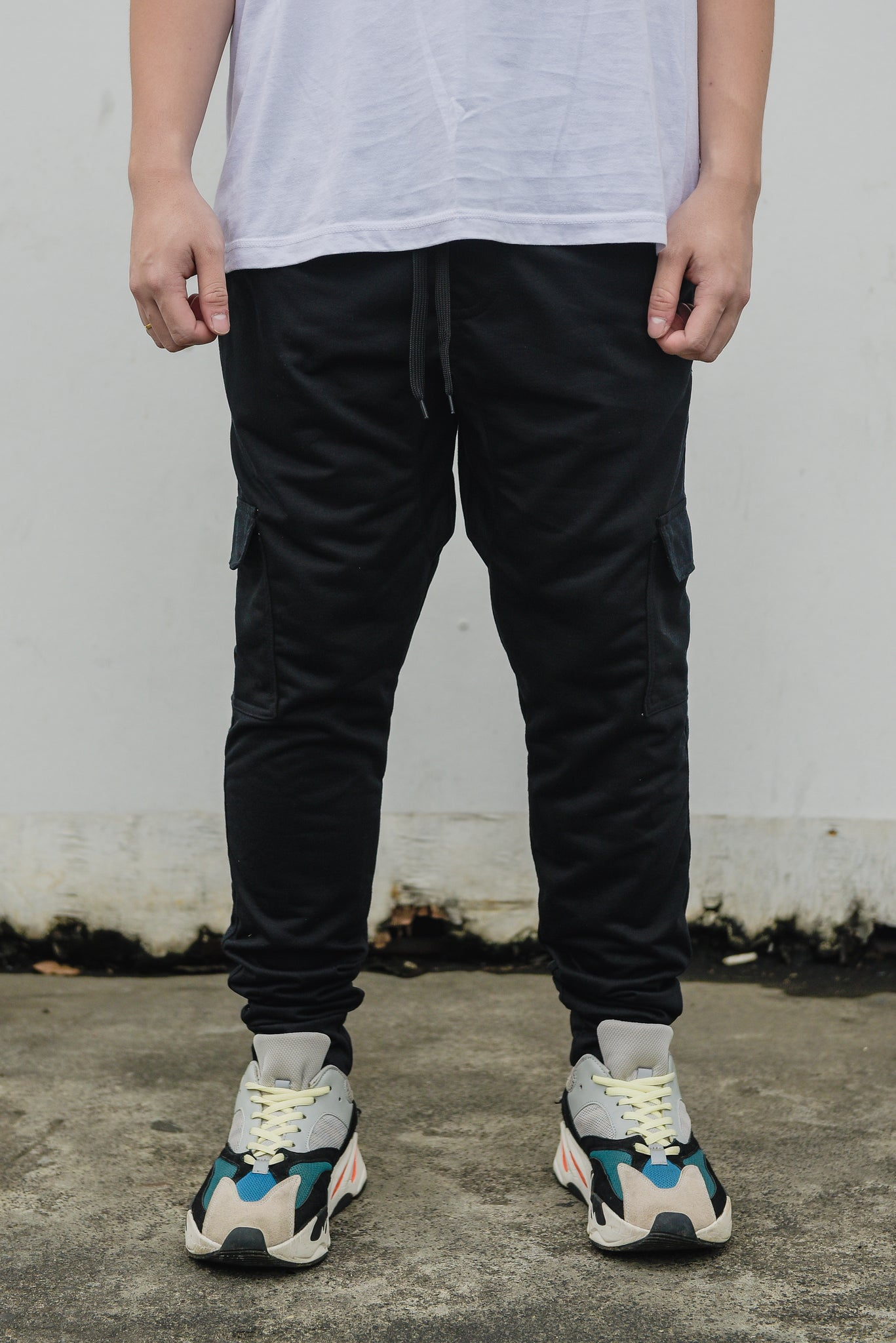 NEW FRENCH TERRY CARGO PANTS - BLACK