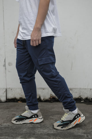 NEW FRENCH TERRY CARGO PANTS - NAVY BLUE