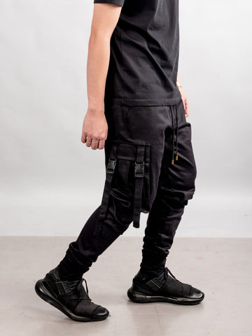 4 POCKETS BUCKLE PANTS - BLACK