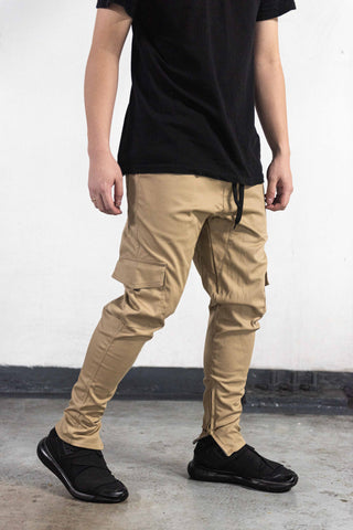 CARGO PANTS WITH ZIP - KHAKI
