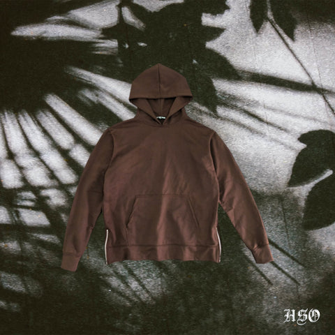 ESSENTIAL HOODIE WITH ZIP - BROWN