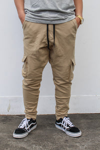 French Terry Cotton Cargo Pants - Nude