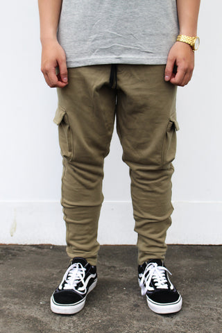 091d2bc1ca French Terry Cotton Cargo Pants - Olive Green – Haute Stuff Original