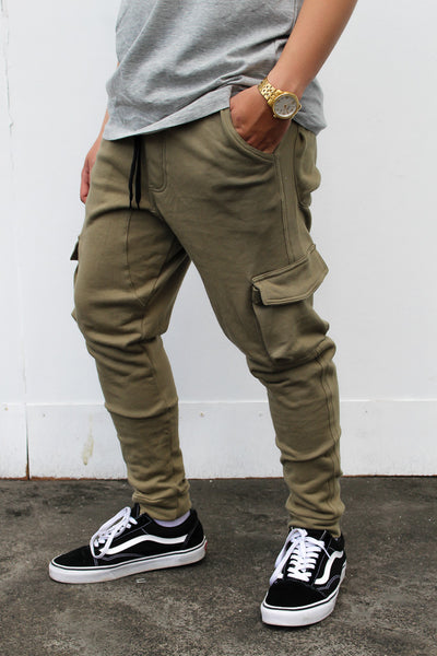 French Terry Cotton Cargo Pants - Olive Green
