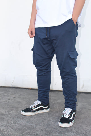 French Terry Cotton Cargo Pants - Navy Blue