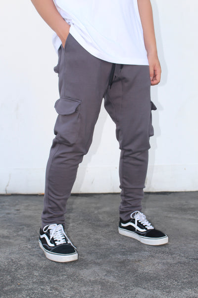 French Terry Cotton Cargo Pants - Dark Gray