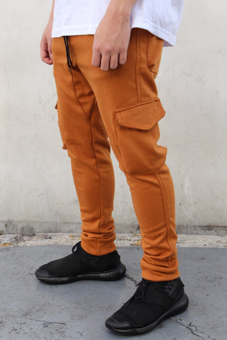 French Terry Cotton Cargo Pants - Brick