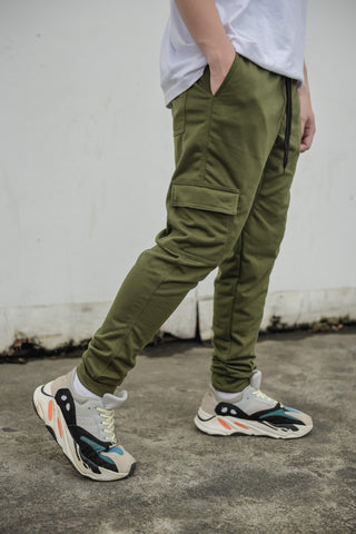 NEW FRENCH TERRY CARGO PANTS - ARMY GREEN