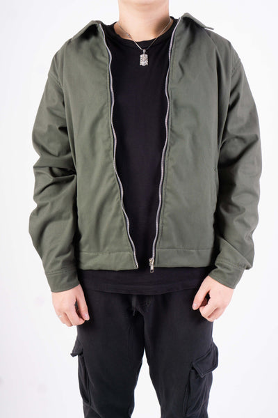 TWILL JACKET IN OLIVE GREEN