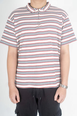 STRIPE POLO W/ ZIP