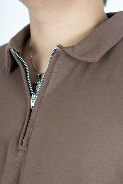 POLO W/ ZIP IN BROWN