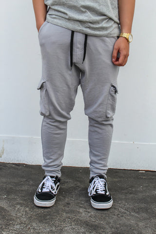 French Terry Cotton Cargo Pants - Gray