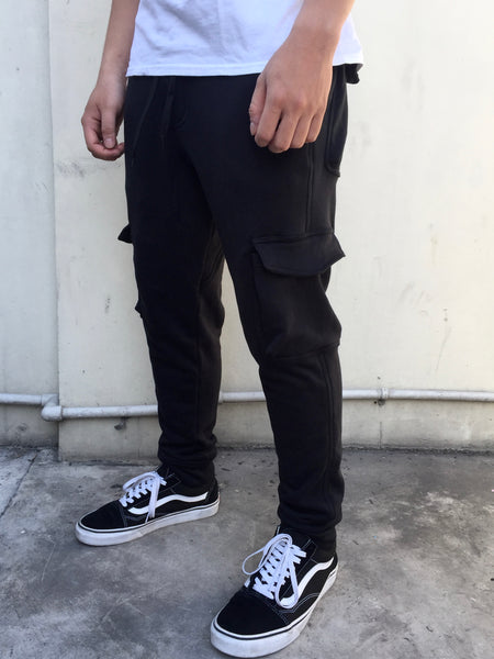 French Terry Cotton Cargo Pants - Black