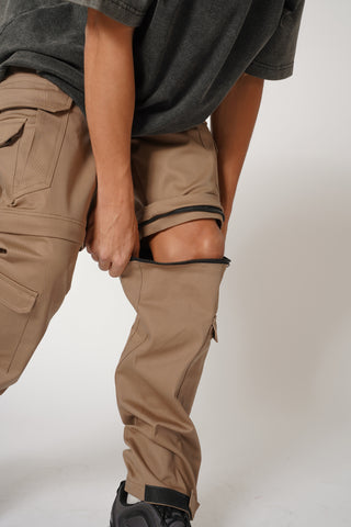 CONVERTIBLE CARGO PANTS (12 POCKETS) -TOBACCO BROWN
